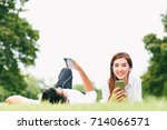 asian lover couple or college...   Shutterstock . vector #714066571