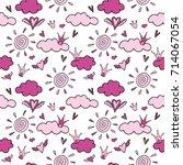 seamless baby pattern for girl  ... | Shutterstock .eps vector #714067054