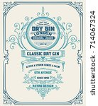 vertical gin label with floral... | Shutterstock .eps vector #714067324
