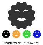 lady pleasure smiley gear icon. ... | Shutterstock .eps vector #714067729
