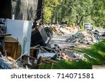 trash clean up after hurricane... | Shutterstock . vector #714071581