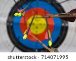 Small photo of Archery target with arrows on it. Focus, aim, concentration concept