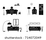 stick figure resting at home... | Shutterstock .eps vector #714072049