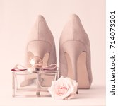 vintage heel shoes  roses and... | Shutterstock . vector #714073201