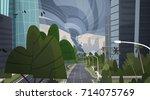 strong tornado destroy city...   Shutterstock .eps vector #714075769