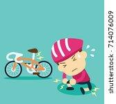 cyclist hurt their knees... | Shutterstock .eps vector #714076009