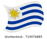 uruguay flag moved by the wind | Shutterstock .eps vector #714076885