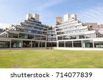 Small photo of Norwich, United Kingdom - August 26, 2017: A students' residential block, designed by Denys Lasdun, one of many on the campus at the University of East Anglia, Norwich, UK.