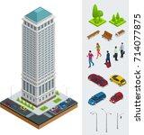 isometric city modern flat... | Shutterstock .eps vector #714077875