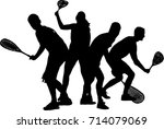 squash players isolated on a... | Shutterstock .eps vector #714079069