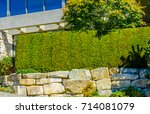 nicely trimmed bushes  in front ... | Shutterstock . vector #714081079