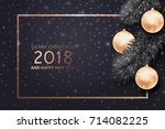christmas and new year... | Shutterstock .eps vector #714082225