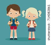two students pupils boy and... | Shutterstock .eps vector #714082861