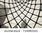 modern building with curving... | Shutterstock . vector #714083161