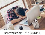 sweet dreams at the work place. ... | Shutterstock . vector #714083341