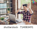 wtf   omg  oh no  young amazed... | Shutterstock . vector #714083491