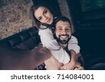sexy young cheerful brunette... | Shutterstock . vector #714084001