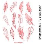 feathers. design zentangle.... | Shutterstock . vector #714085054