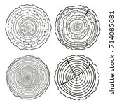 tree rings. set of cross... | Shutterstock . vector #714085081