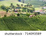 hills covered in coffee with... | Shutterstock . vector #714093589