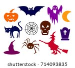 collection of halloween... | Shutterstock .eps vector #714093835