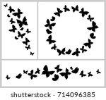 butterflies background set.... | Shutterstock .eps vector #714096385