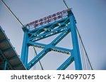Small photo of Close up detail of Ambassador Bridge connecting Windsor, Ontario to Detroit Michigan
