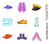 Woman New Clothes Icon Set....
