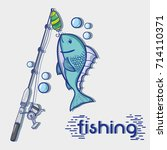 fishing rod with hook and nylon ... | Shutterstock .eps vector #714110371
