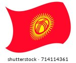 kyrgyzstan flag moved by the... | Shutterstock .eps vector #714114361