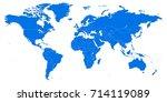 detailed flat world map | Shutterstock .eps vector #714119089