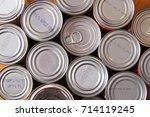 aluminum cans of food | Shutterstock . vector #714119245