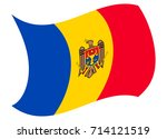 moldova flag moved by the wind | Shutterstock .eps vector #714121519