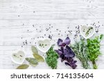 greenery with natural oil for... | Shutterstock . vector #714135604