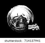 scary farmhouse hand drawn... | Shutterstock .eps vector #714137941