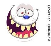 cartoon monster yeti face... | Shutterstock .eps vector #714139255