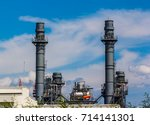 high voltage power plant in the ... | Shutterstock . vector #714141301