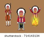 native american cheif poses... | Shutterstock .eps vector #714143134