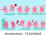 cute cartoon kidney on the blue ... | Shutterstock .eps vector #714143665