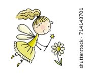 cute little fairy  sketch for... | Shutterstock .eps vector #714143701