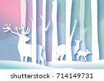 paper cut deer family in forest.... | Shutterstock .eps vector #714149731