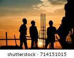 silhouette worker civil... | Shutterstock . vector #714151015