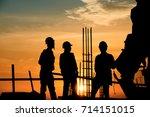 silhouette worker civil... | Shutterstock . vector #714151015
