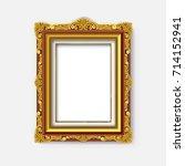 vintage gold picture frame  | Shutterstock .eps vector #714152941