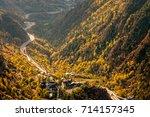 main highway in andorra bends...   Shutterstock . vector #714157345