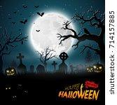 cartoon halloween background... | Shutterstock . vector #714157885