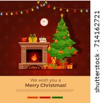 christmas fireplace room... | Shutterstock .eps vector #714162721
