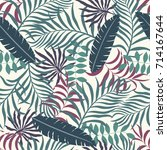 tropical background with palm... | Shutterstock .eps vector #714167644