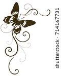 beautiful calligraphic corner... | Shutterstock .eps vector #714167731
