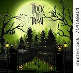 halloween background with... | Shutterstock . vector #714168601